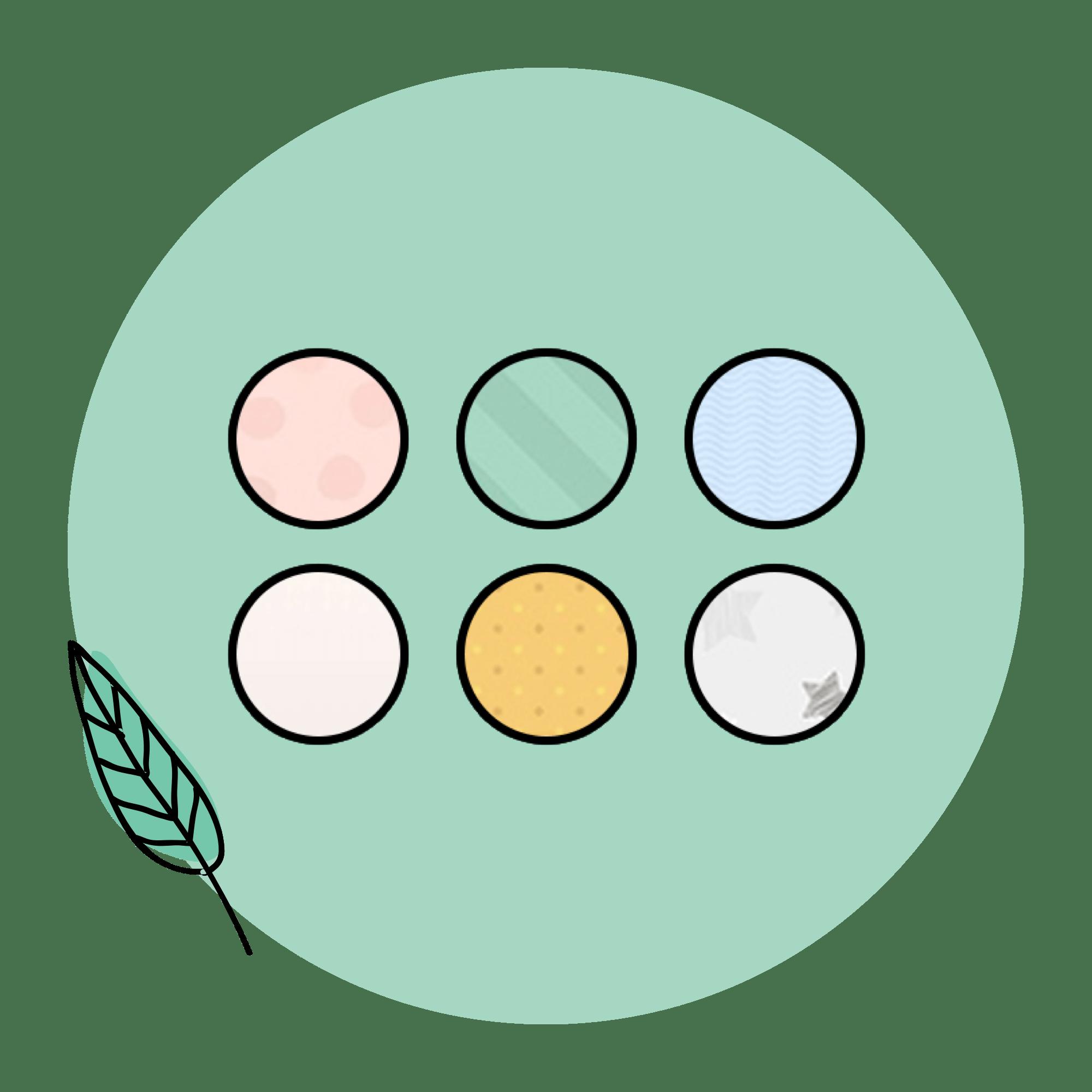 sechs Kreise mit den Farben rosa, grün, blau, champagner, weiß und gelb