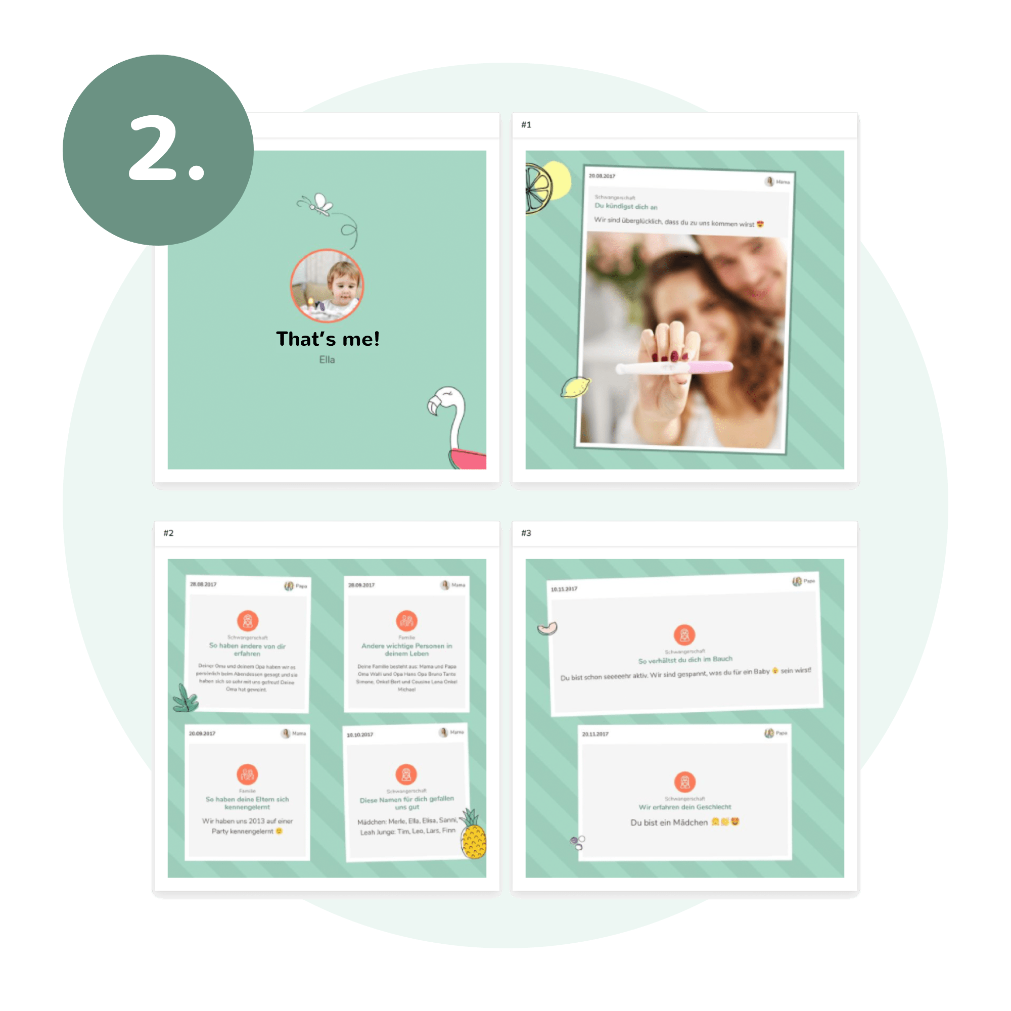Vier Screenshots aus der Erinnerungsbuch App mit verschiedenen Steps zum Erstellen des Erinnerungsalbums