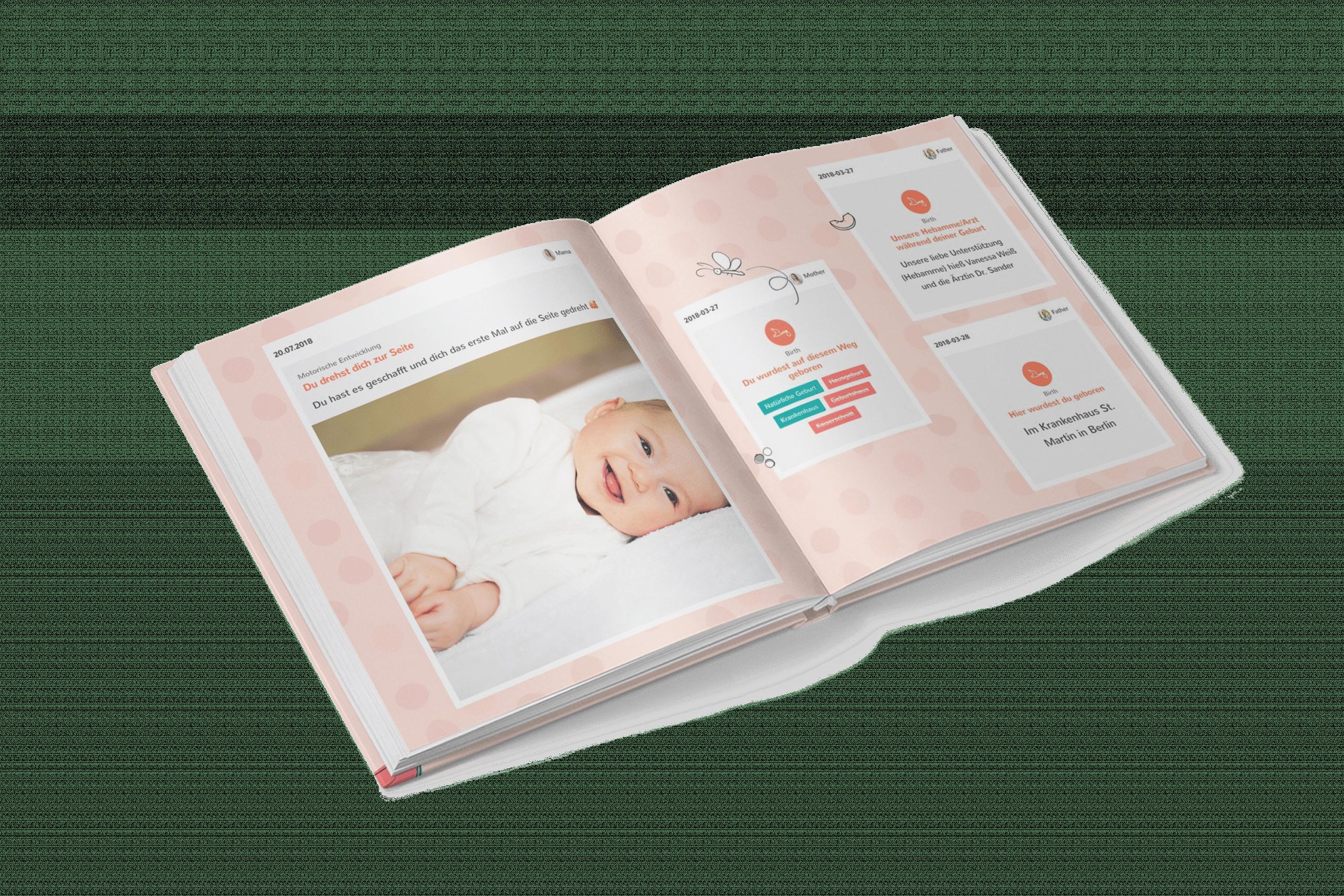 Nahaufnahme eines Schwangerschaftstagebuchs als Layflat Buch