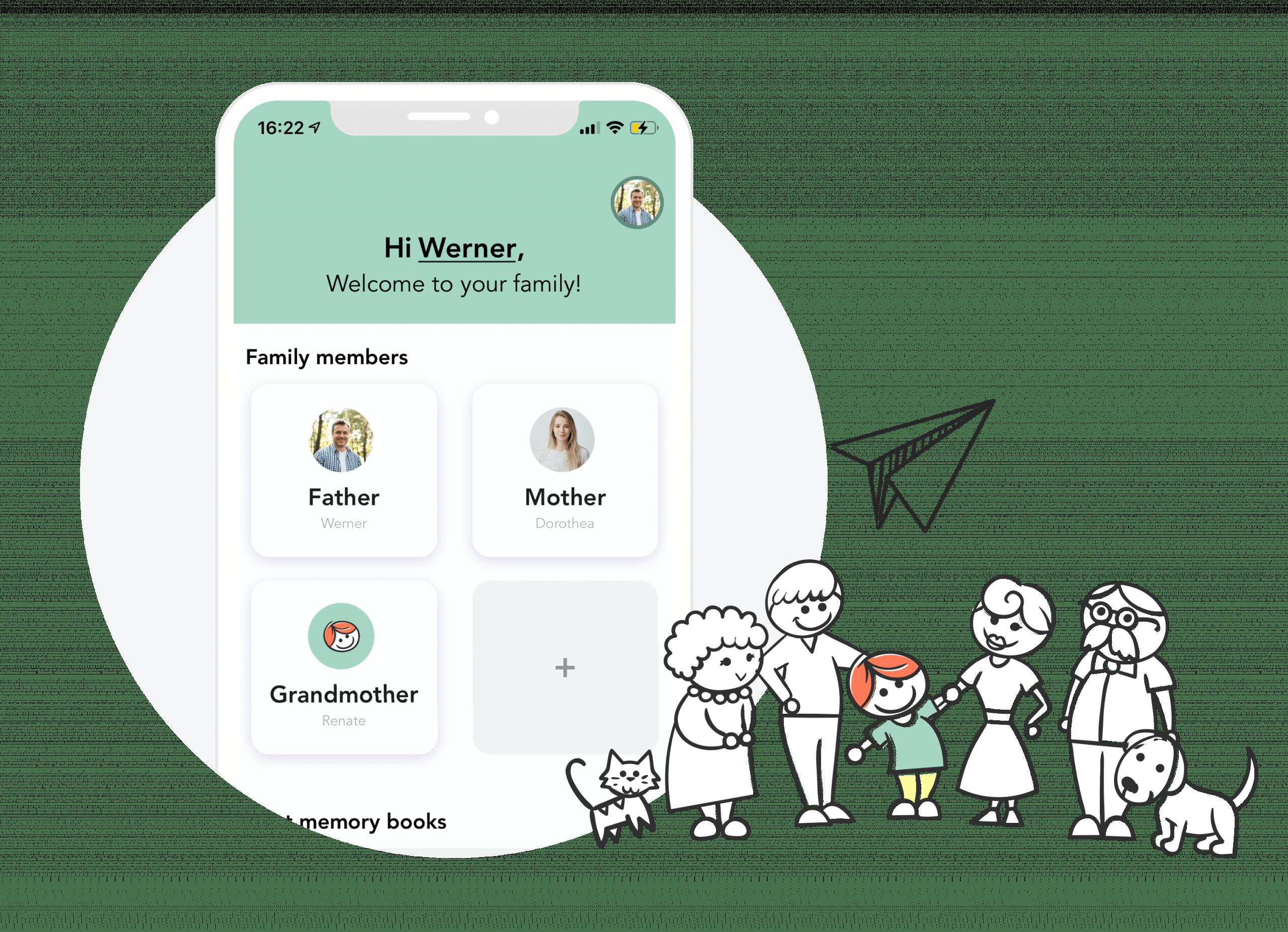 Startseite der Erinnerungs App mit verschiedenen Nutzerprofilen sowie einer Comic-Familie im Vordergrund