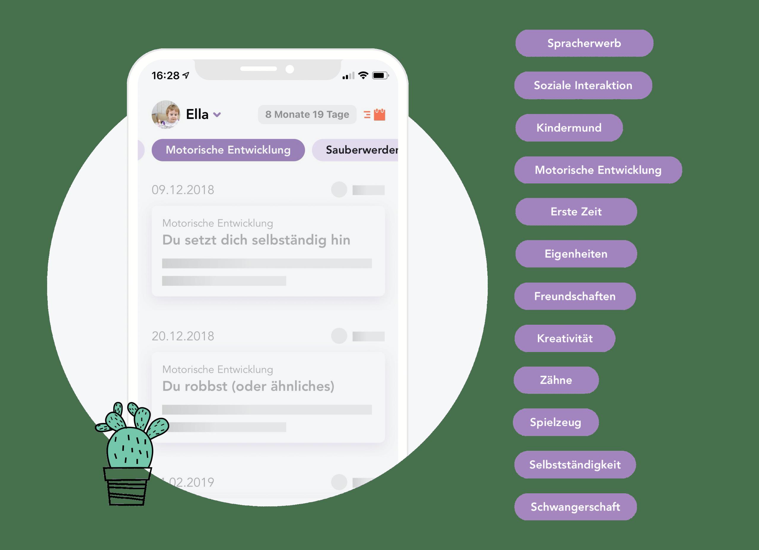 Mockup Juno App und Kategorien