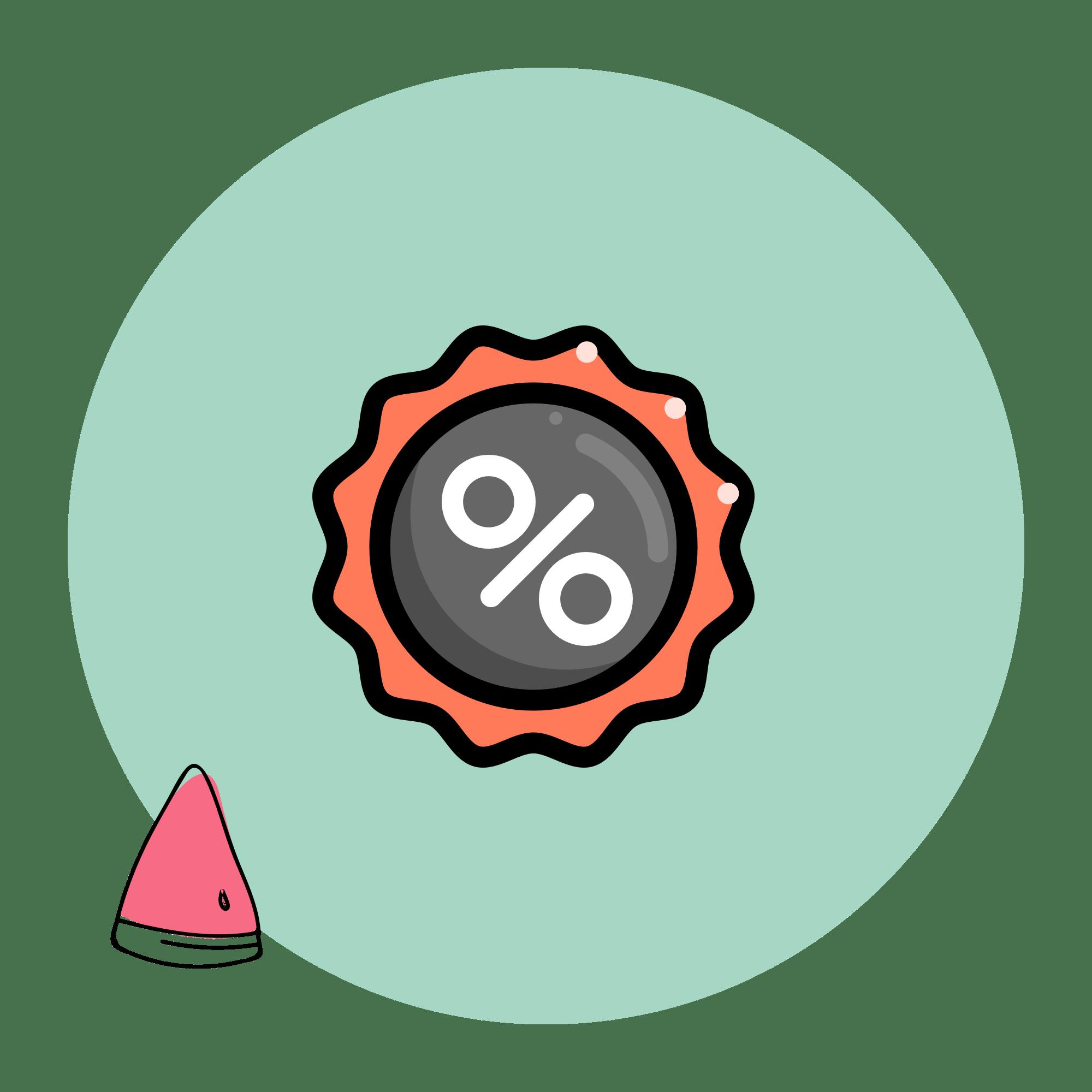 grau rotes Siegel mit Prozentzeichen als Rabatt auf hellgrünem Hintergrund mit Melone