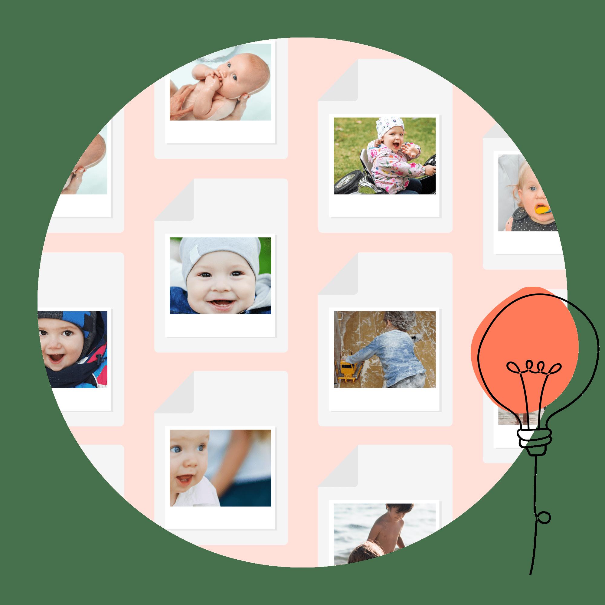 Collage mit unterschiedlichen Kinderfotos und Comicglühbirne in rot