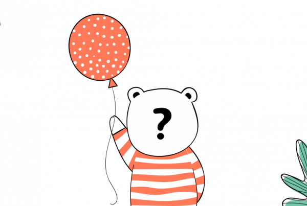 Comic Bär mit Luftballon