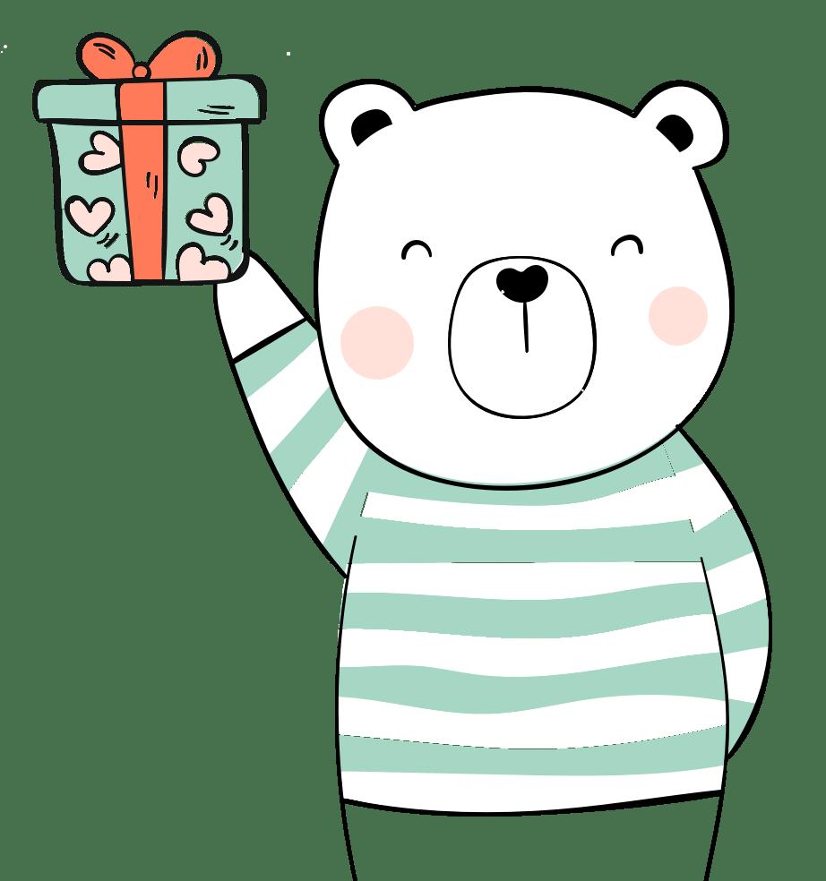 Comic Bär mit Geschenk in der Hand